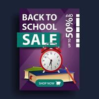 promoção de volta às aulas, banner vertical de desconto com livros escolares vetor