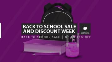 promoção de volta às aulas e semana de desconto, faixa roxa de desconto vetor