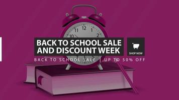 promoção de volta às aulas e semana de descontos, banner de desconto horizontal rosa vetor