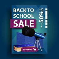 promoção de volta às aulas, banner de desconto vertical com telescópio vetor
