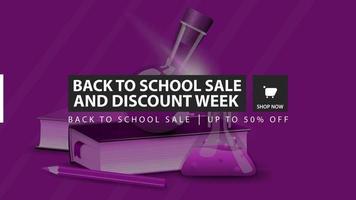 venda de volta às aulas e semana de desconto, banner horizontal de desconto vetor