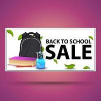 liquidação de volta às aulas, faixa branca de desconto com mochila escolar vetor