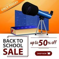 liquidação de volta às aulas, banner laranja com telescópio vetor