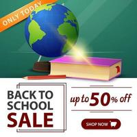liquidação de volta às aulas, banner verde com globo e livros escolares vetor