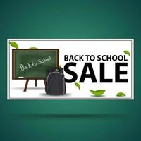 liquidação de volta às aulas, faixa branca de desconto vetor