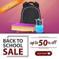 liquidação de volta às aulas, banner rosa com mochila escolar vetor