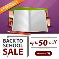 liquidação de volta às aulas, banner roxo com livros escolares e caderno vetor