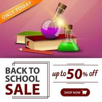 liquidação de volta às aulas, banner rosa com livros e frascos químicos vetor