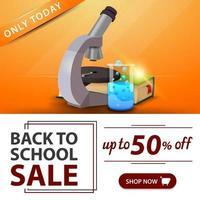 liquidação de volta às aulas, banner laranja com microscópio vetor