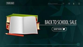 promoção de volta às aulas e semana de descontos, faixa de desconto verde vetor