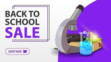 liquidação de volta às aulas, faixa branca com microscópio vetor