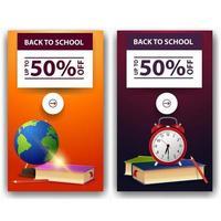 liquidação de volta às aulas, dois banners de desconto com globo vetor