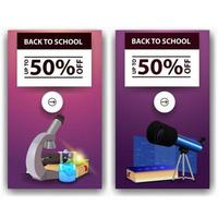 liquidação de volta às aulas, dois banners de desconto com microscópio vetor