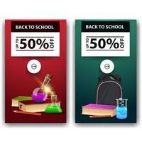 liquidação de volta às aulas, dois banners de desconto com livros, frascos químicos vetor
