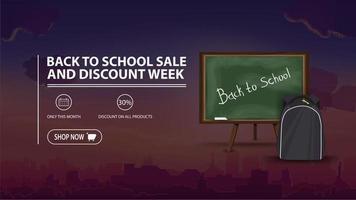 promoção de volta às aulas e semana de desconto, banner de desconto vetor