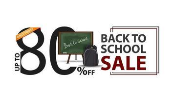 liquidação de volta às aulas, faixa branca com 80 off, conselho escolar vetor