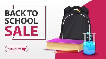 liquidação de volta às aulas, faixa branca com mochila escolar vetor