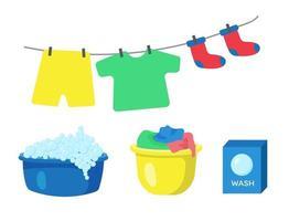 conjunto de lavar roupa. bacia com espuma de sabão, bacia com roupa suja vetor