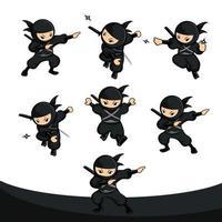 ninja de desenho animado preto define 12 com seis poses diferentes vetor