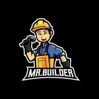 mr builder mascote logo design ilustração vetorial vetor