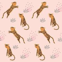 padrão infantil sem costura com leopardos de desenho animado vetor