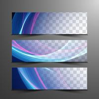 Conjunto de bandeiras elegantes onduladas coloridas abstratas vetor