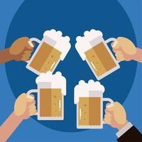 mãos com canecas de cerveja, evento de celebração, brinde vetor