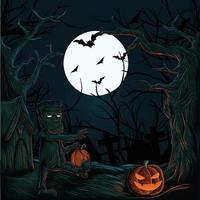 casa assombrada de halloween com abóboras, fantasmas, morcegos e monstros vetor