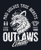 Lobo da velha escola vetor