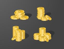 Investimento financeiro empresarial de vetor isométrico 3D com elemento de moeda