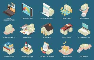 ícones isométricos de crédito de empréstimo bancário vetor