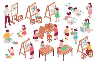 conjunto de escola de arte infantil vetor