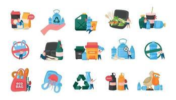 conjunto de ícones de recolorir plano de autocuidado vetor