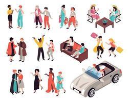 conjunto de ícones de amigas mulheres vetor