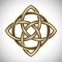 quadrado do ouro do símbolo do triquetra vetor