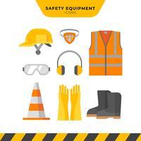 Conjunto de ícones de equipamentos de proteção pessoal vetor