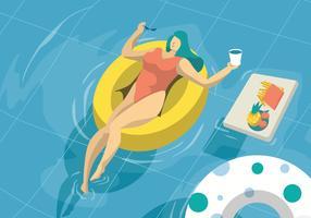 Mulher tomando banho de sol na ilustração em vetor de piscina