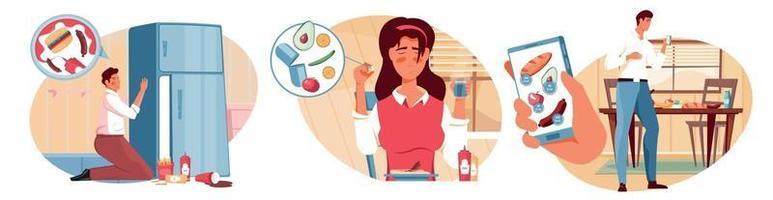 nutrições conjunto de composições de dieta vetor