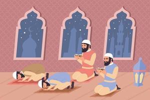 composição plana de oração islâmica vetor