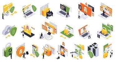 conjunto de ícones de segurança cibernética vetor