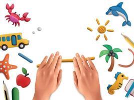 modelagem de plasticina composição escolar vetor