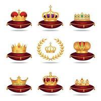 conjunto de coroas reais vetor