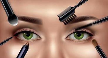 maquiagem olhos composição realista vetor