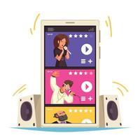 conceito de aplicativo móvel de streaming de música vetor