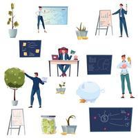 coleção de ícones planos de investimento vetor