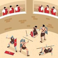 composição de arena de luta romana vetor