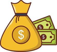 ícone de linha de cor de vetor de pagamento em dólar