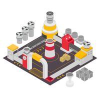 Edifícios industriais isométricos definir ilustração vetorial vetor