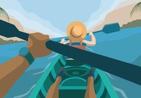 Explorador de aventura com ilustração em vetor vista para o lago