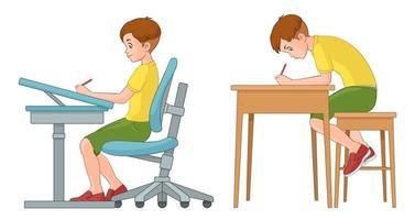 menino da escola incorreto e correto sentado na mesa vetor